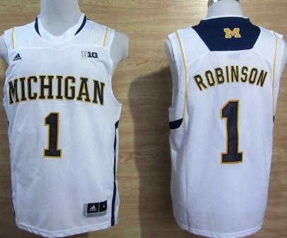 Michigan Wolverines #1 Glenn Robinson III White Big 10 Patch Jersey