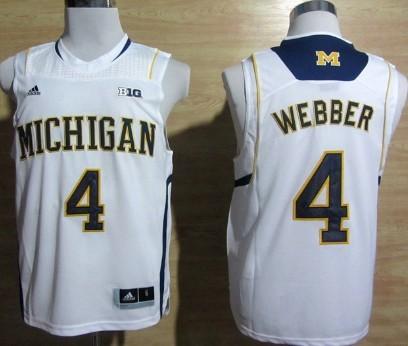 Michigan Wolverines #4 Chirs Webber White Big 10 Patch Jersey