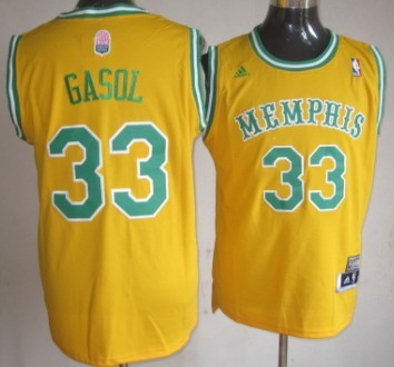 Memphis Grizzlies #33 Marc Gasol ABA Hardwood Classic Swingman Yellow Throwback Jersey