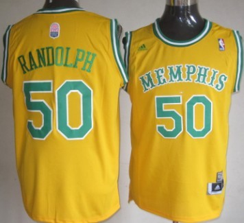 Memphis Grizzlies #50 Zach Randolph ABA Hardwood Classic Swingman Yellow Throwback Jersey