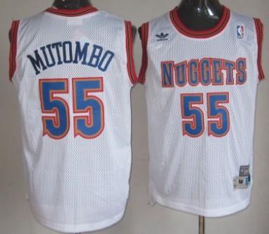 Denver Nuggets #55 Dikembe Mutombo White Hardwood Classics Soul Swingman Throwback Jersey