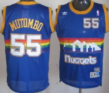 Denver Nuggets #55 Dikembe Mutombo Blue Rainbow Hardwood Classics Soul Swingman Throwback Jersey
