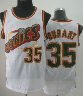 Seattle Supersonics #35 Kevin Durant 1995-96 White Swingman Jersey