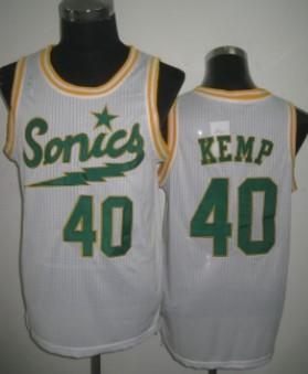 Seattle Supersonics #40 Shawn Kemp 2003-04 White Swingman Jersey