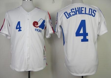 Men's Montreal Expos #4 Delino DeShields 1982 White Mitchell & Ness Throwback Jersey