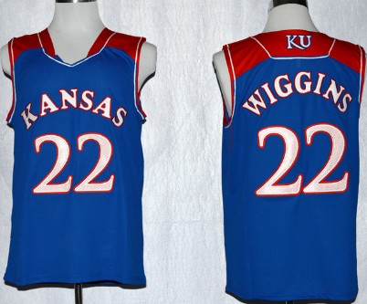 Men's Kansas Jayhawks #22 Andrew Wiggins Royal Blue College Basketball adidas Swingman Stitched NCAA Jersey