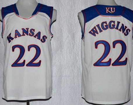 Men's Kansas Jayhawks #22 Andrew Wiggins White College Basketball adidas Swingman Stitched NCAA Jersey