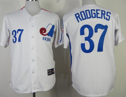 Men's Montreal Expos #37 Steve Rodgers 1982 White Mitchell & Ness Throwback Jersey