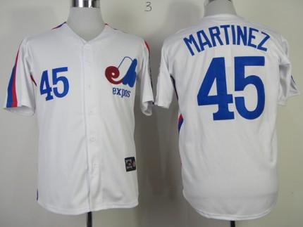 Men's Montreal Expos #45 Pedro Martinez 1982 White Mitchell & Ness Throwback Jersey