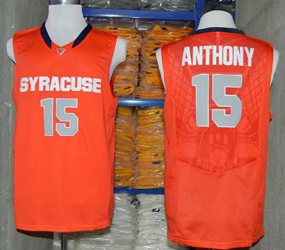 Men's Syracuse Orange #15 Camerlo Anthony Orange College Basketball Nike Jersey