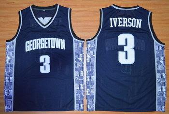 Men's Georgetown Hoyas #3 Allen Iverson Navy Blue College Basketball Nike Swingman Jersey