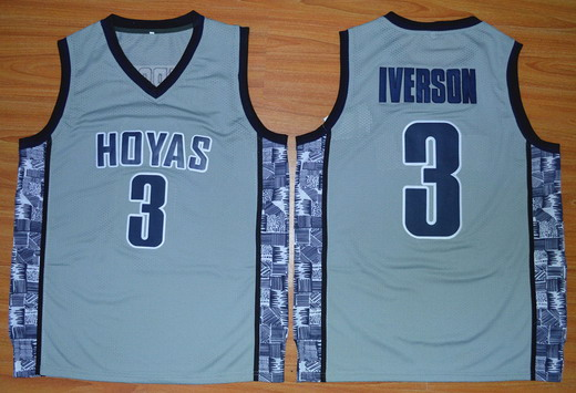 Men's Georgetown Hoyas #3 Allen Iverson Gray College Basketball Nike Swingman Jersey