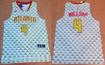 Men's Atlanta Hawks #4 Paul Millsap Revolution 30 Swingman 2015-16 New White Jersey