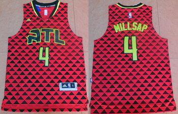 Men's Atlanta Hawks #4 Paul Millsap Revolution 30 Swingman 2015-16 New Red Jersey