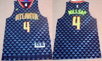 Men's Atlanta Hawks #4 Paul Millsap Revolution 30 Swingman 2015-16 New Black Jersey