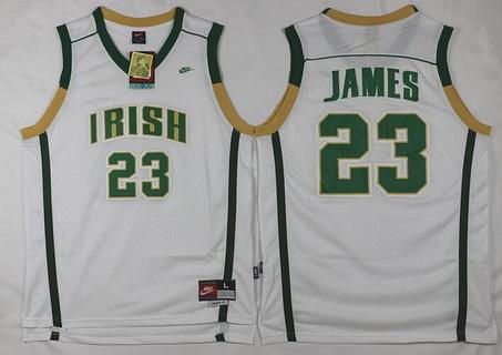 Men's The Fighting Irish #23 Lebron James White Soul Swingman High School Basketball Jersey