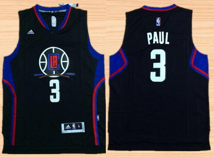 Men's Los Angeles Clippers #3 Chris Paul Revolution 30 Swingman 2015-16 Black Jersey
