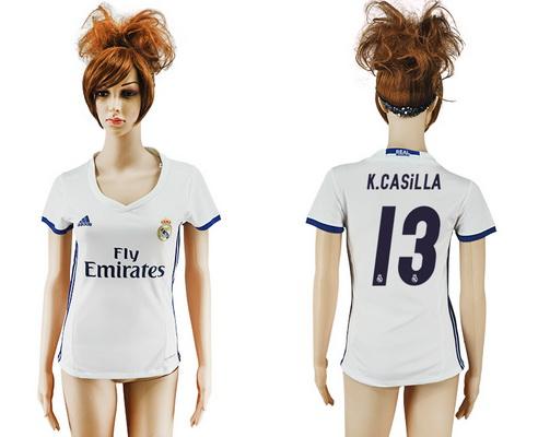 2016-17 Real Madrid #13 K.CASILLA Home Soccer Women's White AAA+ Shirt