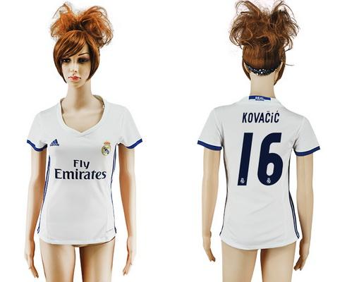 2016-17 Real Madrid #16 KOVACIC Home Soccer Women's White AAA+ Shirt