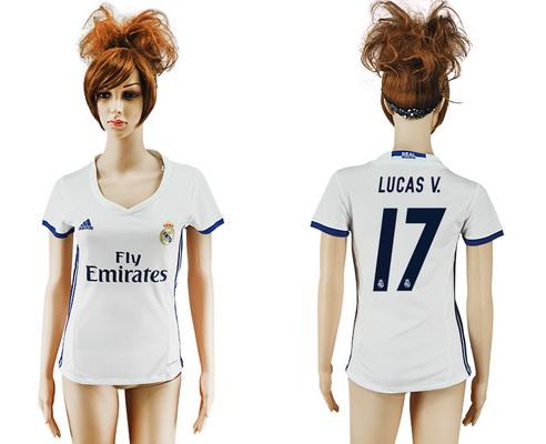 2016-17 Real Madrid #17 LUCAS V. Home Soccer Women's White AAA+ Shirt