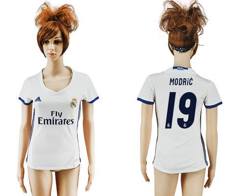 2016-17 Real Madrid #19 MODRIC Home Soccer Women's White AAA+ Shirt