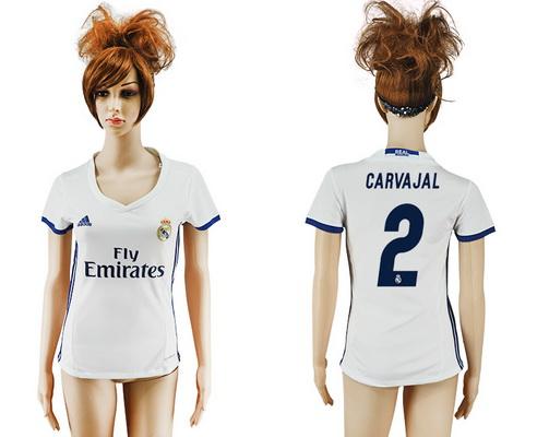 2016-17 Real Madrid #2 CARVAJAL Home Soccer Women's White AAA+ Shirt