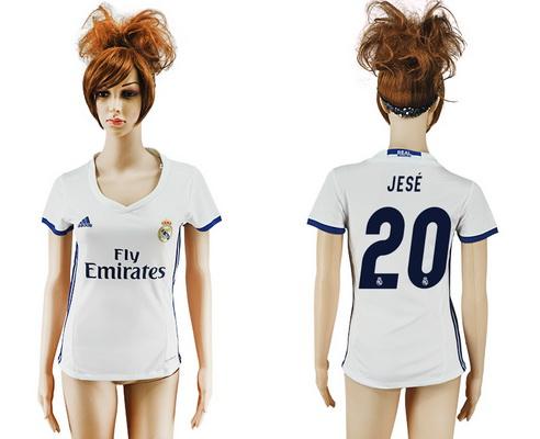 2016-17 Real Madrid #20 JESE Home Soccer Women's White AAA+ Shirt