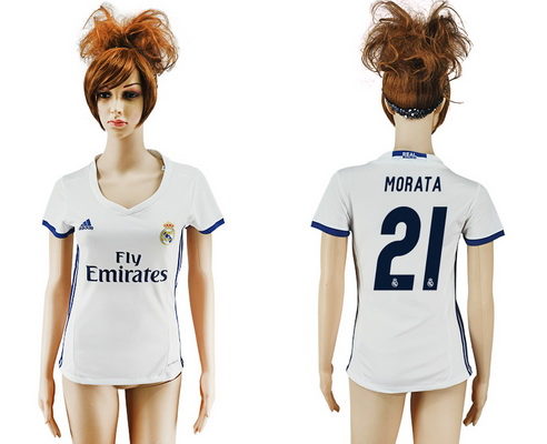 2016-17 Real Madrid #21 MORATA Home Soccer Women's White AAA+ Shirt