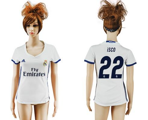 2016-17 Real Madrid #22 ISCO Home Soccer Women's White AAA+ Shirt