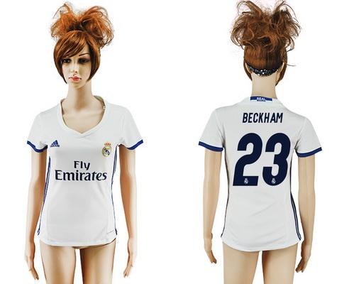 2016-17 Real Madrid #23 BECKHAM Home Soccer Women's White AAA+ Shirt