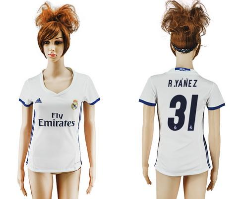 2016-17 Real Madrid #31 R.YANEZ Home Soccer Women's White AAA+ Shirt