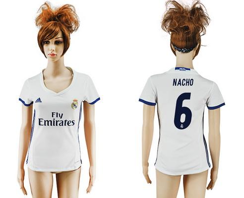 2016-17 Real Madrid #6 NACHO Home Soccer Women's White AAA+ Shirt