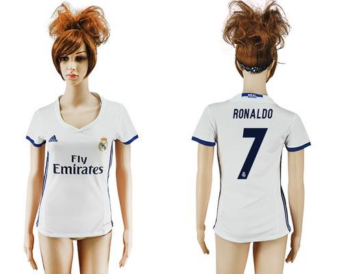 2016-17 Real Madrid #7 RONALDO Home Soccer Women's White AAA+ Shirt