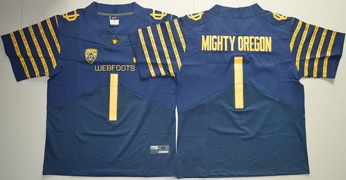 Men's Oregon Ducks 2016 Spring Game Mighty Oregon #1 Weebfoot 100th Rose Bowl Game Navy Blue Elite Jersey