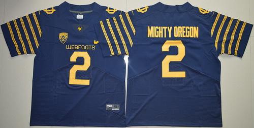 Men's Oregon Ducks 2016 Spring Game Mighty Oregon #2 Weebfoot 100th Rose Bowl Game Navy Blue Elite Jersey