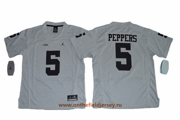 Youth Michigan Wolverines #5 Jabrill Peppers Gridiron Gray II Limited College Football Stitched Nike NCAA Jersey