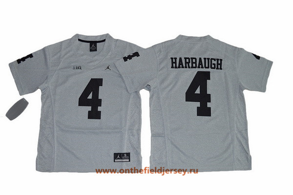 Youth Michigan Wolverines #4 Jim Harbaugh Gridiron Gray II Limited College Football Stitched Nike NCAA Jersey