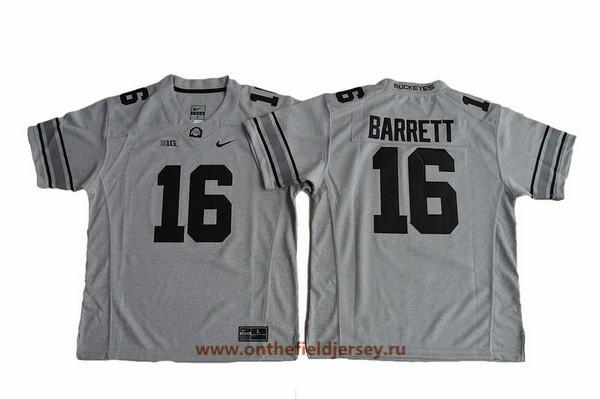 Youth Ohio State Buckeyes #16 J.T. Barrett Gridiron Gray II Limited College Football Stitched Nike NCAA Jersey