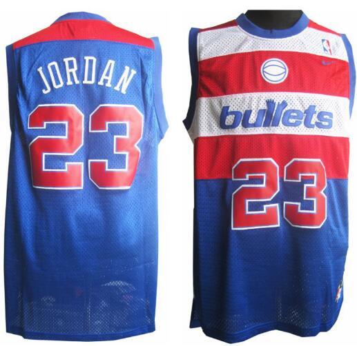 Men's Washington Bullets #23 Michael Jordan Blue Hardwood Classics Soul Swingman Throwback Jersey