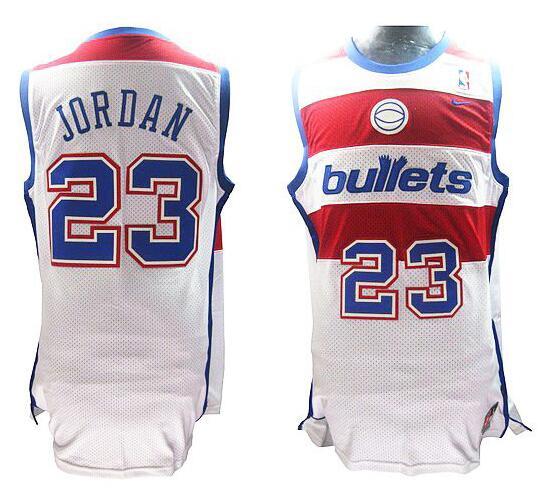 Men's Washington Bullets #23 Michael Jordan White Hardwood Classics Soul Swingman Throwback Jersey