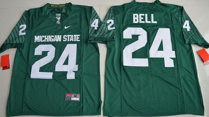 Men's Michigan State Spartans #24 LeVeon Bell Green Limited Stitched College Football 2016 Nike NCAA Jersey