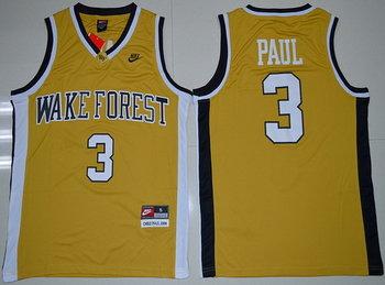 Men's Wake Forest Demon Deacons #3 Chris Paul Gold College Basketball Nike Swingman Jersey