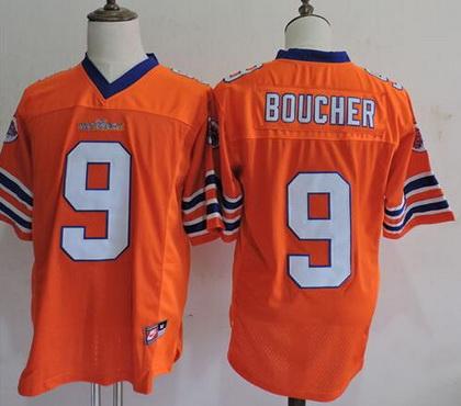 Men's The Movie The Waterboy Adam Sandler #9 Bobby Boucher Orange Stitched Football Jersey