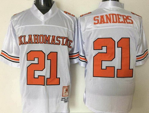 Men's Oklahoma State Cowboys #21 Barry Sanders White Throwback College Football Jersey