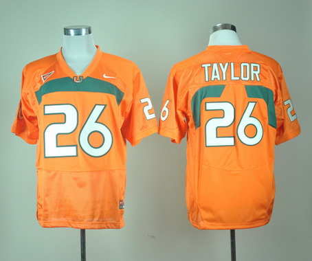Men's Miami Hurricanes Sean Taylor #26 Orange Nike College Football Stitched NCAA Jersey