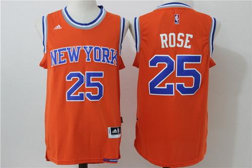 Men's New York Knicks #25 Derrick Rose Orange Revolution 30 Swingman Basketball Jersey