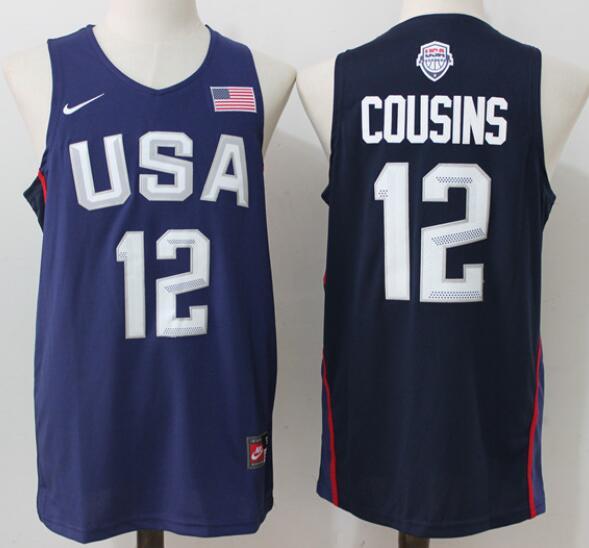 2016 Olympics Team USA Men's #12 DeMarcus Cousins Navy Blue Stitched NBA Nike Swingman Jersey