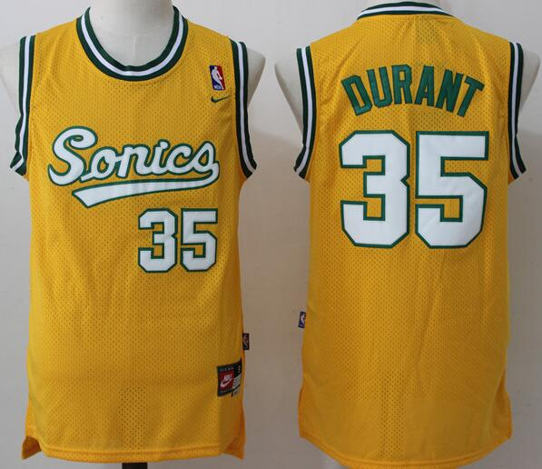 Men's Seattle Supersonics #35 Kevin Durant 2003-04 Yellow Swingman Jersey