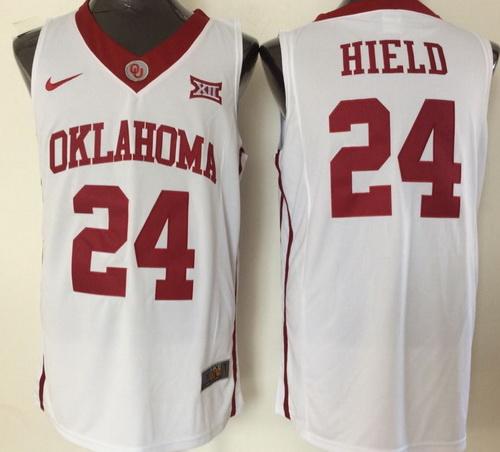 Men's Oklahoma Sooners #24 Buddy Hield White Nike College Basketball Swingman Jersey