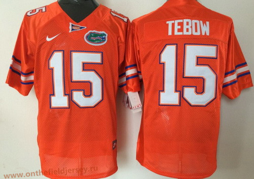 Men's Florida Gators #15 Tim Tebow Orange Stitched NCAA Nike College Football Jersey